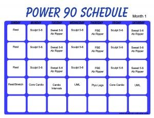 power 90 work out schedule  get it right get it tight