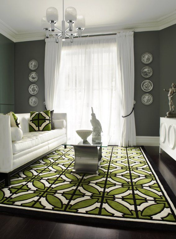 White Furniture Gray Walls Geometric Green Rug And Pillows Good Colors For Our Bat Except We Have Will Likely Paint The