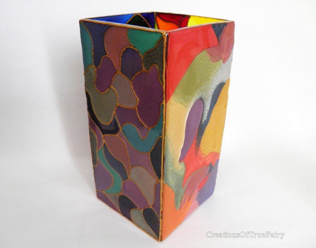 Rainbow Handpainted Glass Vase Housewarming Gift For Her Flower Centerpieces Anniversary Birthday Art Deco Style Home Decor