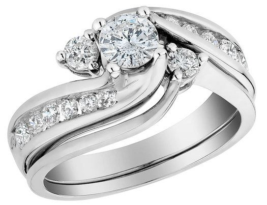 Diamond Interlocking Engagement Ring And Wedding Band Set 1 0 Carat Ctw In 10k White