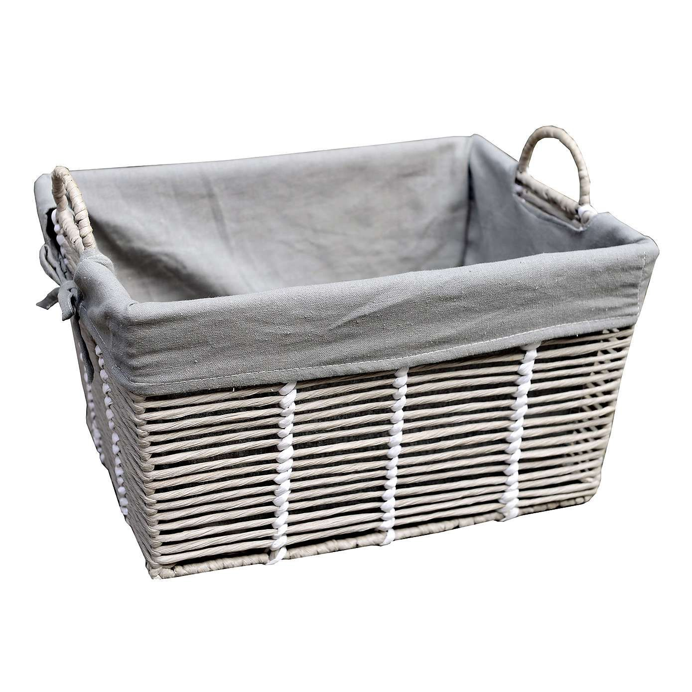 Buy Grasmere Grey Wash Wicker Storage Basket From The: Purity Grey Basket With Handles