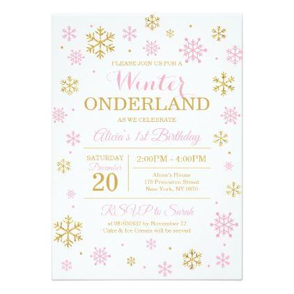 Pink Gold Winter Wonderland Birthday Invitation Winter wonderland