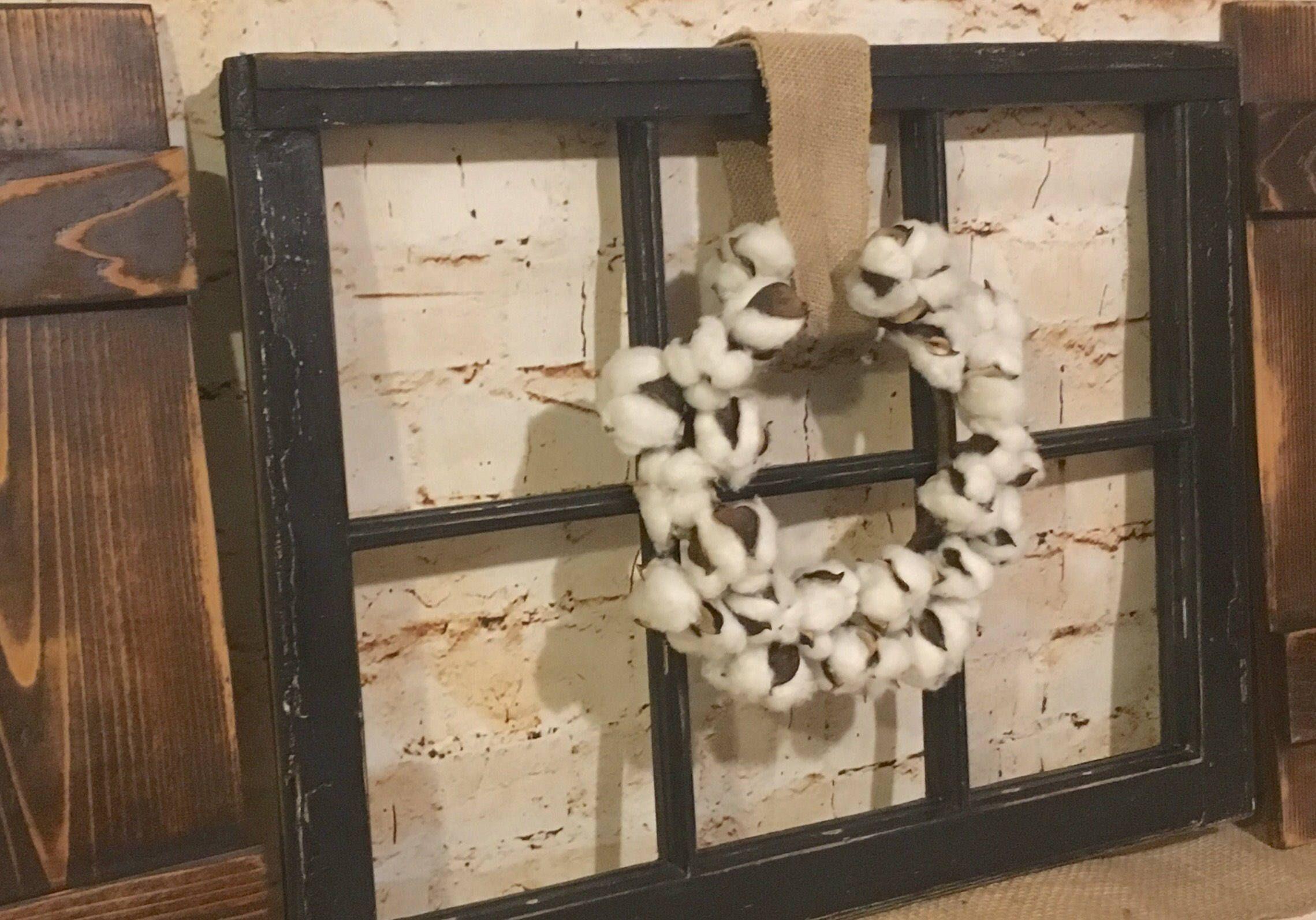 Old Window Frame Decor Old Window Frame Decor Shutters Cotton Wreath Antique Window By