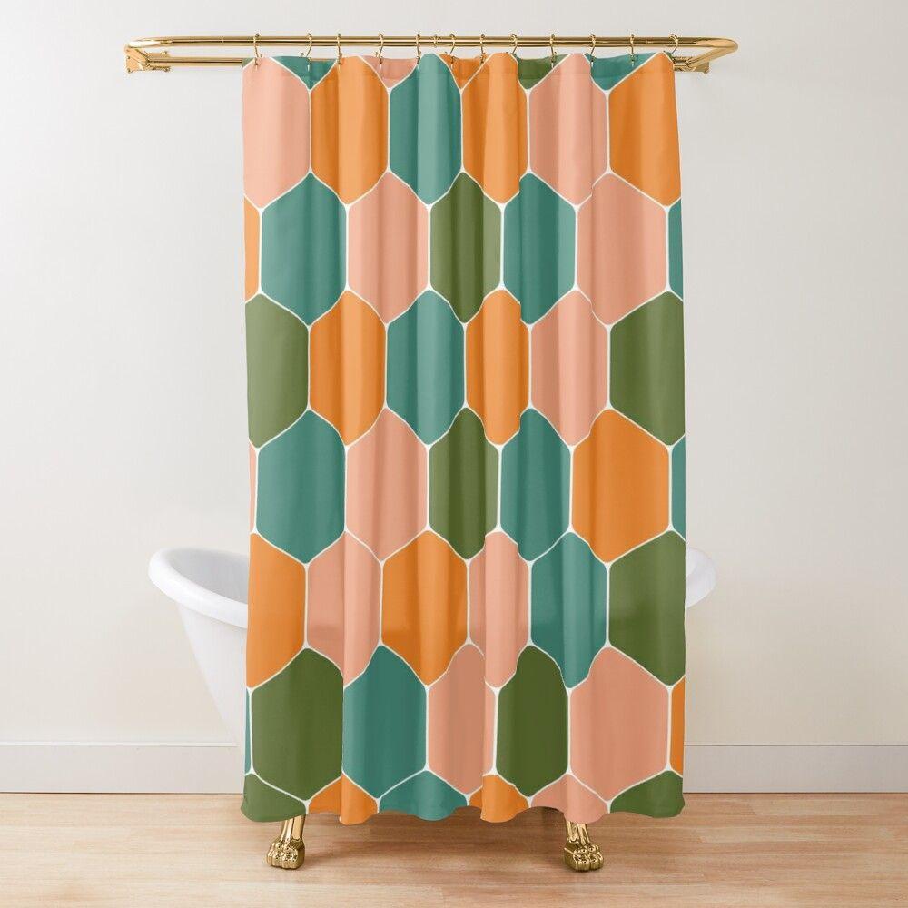 California Tiles Retro Geometric Honeycomb Pattern In Peach Orange