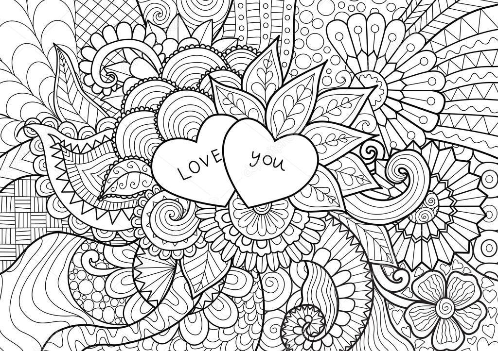 Descargar - Dos corazones de flores para colorear libros para ...