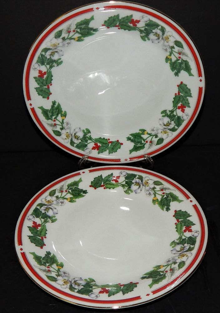 2 St Maria Lynns Fine China Salad Dessert Plates Christmas Holly Berry Red Band : holly berry dinnerware - pezcame.com