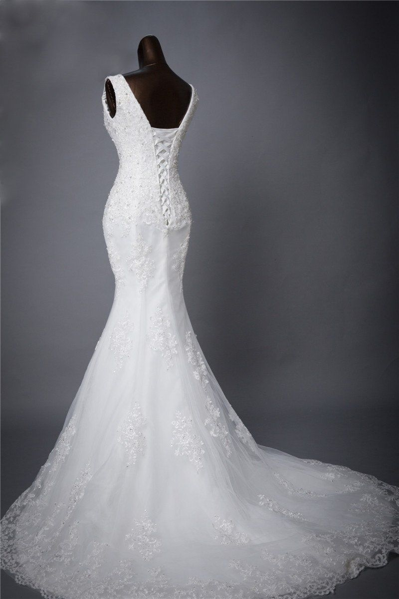 Two Straps V Neckline Lace Mermaid Wedding Bridal Dresses Custom