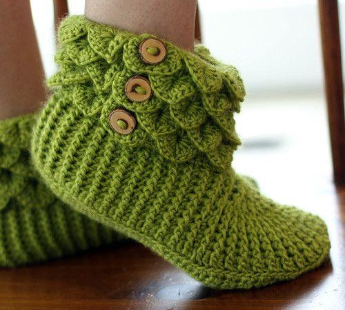 Crocodile Boots (Adult) Crocodile stitch, Baby booties and Stitch