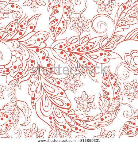 vintage pattern in indian batik style. floral vector background