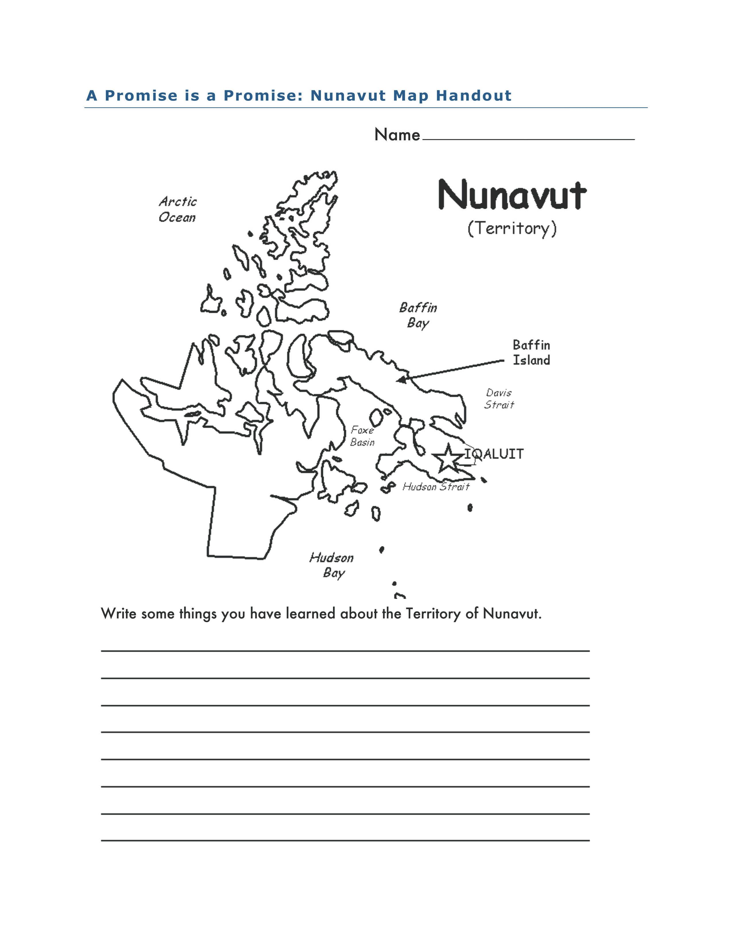 Nunavut Map Activity For A Promise Is A Promise By Robert