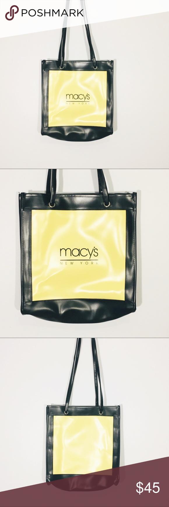 vintage macy s new york shoulder bag yellow black in 2018 my posh