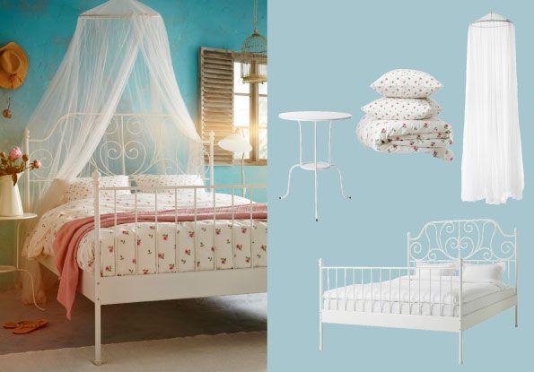 leirvik bett weiss mit bryne netz und emelina knopp bettbezug und kissenbez gen weiss pink. Black Bedroom Furniture Sets. Home Design Ideas