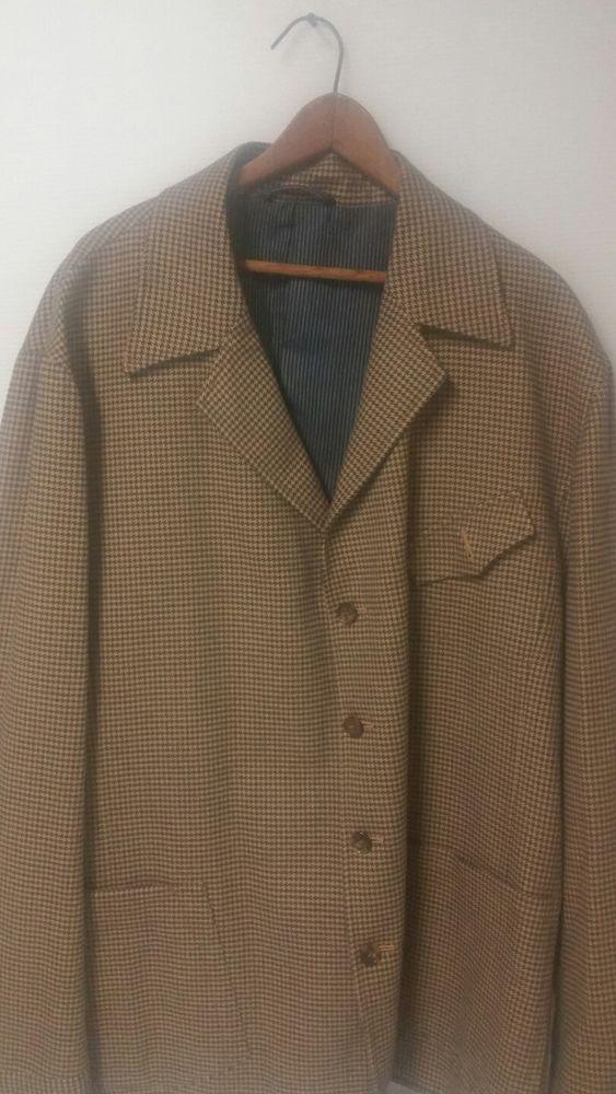 4ba0aaa7 Cloth by Ermenegildo Zegna 4 Button Black Brown Custom Blazer Men's ...