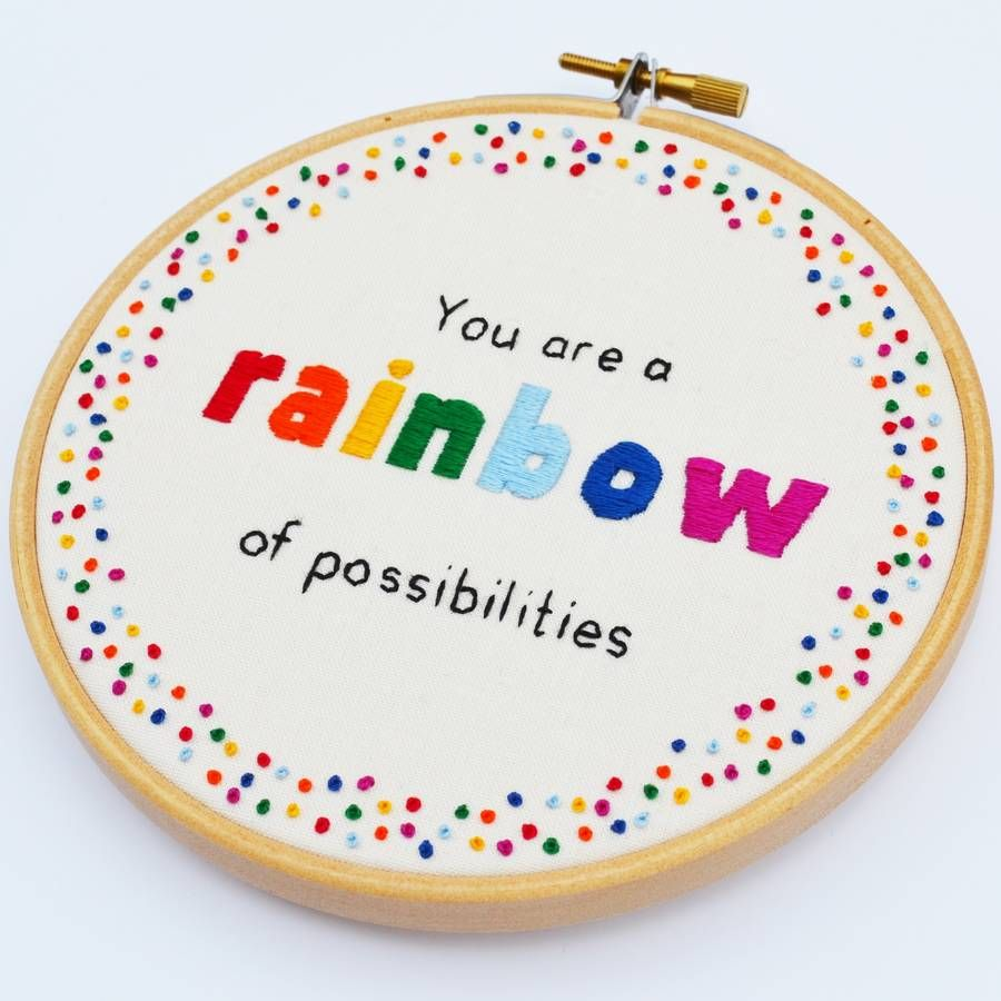 Rainbow Of Possibilities\' Hand Embroidery Hoop Art More | Vic ...