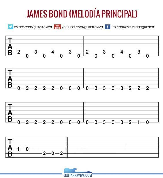 TAB_JAMES_BOND | Instruments | Pinterest | James bond, Guitars and ...