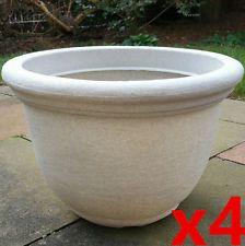 Perfect 4 X Large Planter 36cm Round Plastic Garden Flower Plant Herb Pot STONE  EFFECT