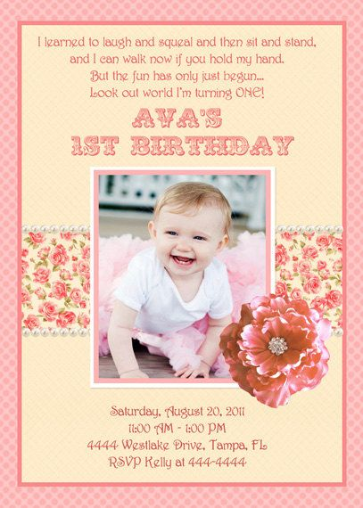 Love the poem on this for Evalies first birthday invites Party