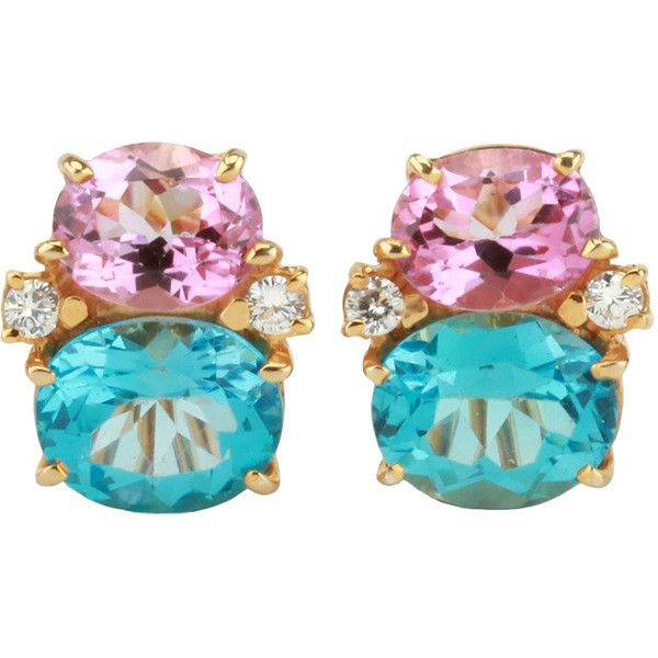Pre-owned Medium Gum Drop Earring with Pink Topaz and Blue Topaz (161,475 PHP) ❤ liked on Polyvore