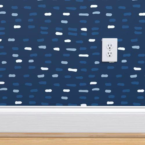 homedecor wallpaper #homedecor Classic Blue Mini Dash Midnight - Spoonflower by bruxamagica #coloroftheyear #fabric #homedecor #wallpaper