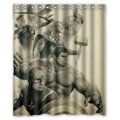 Superhero The Avengers Custom Shower Curtain X Bathroom - Avengers bathroom decor for small bathroom ideas