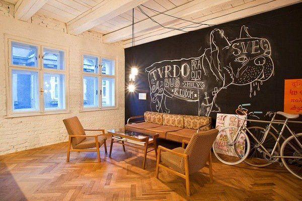 Modern Living Room Original Chalkboard Wall Home Decorating Ideas