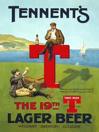 Tennent/'s Lager Beer /& Dogs Advert Aged Look Vintage Retro Style Metal Sign pub