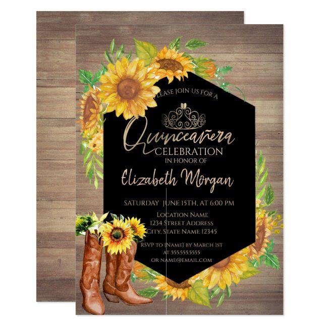 Rustic Sunflowers Wood Quinceañera Invitation   Zazzle.com ...