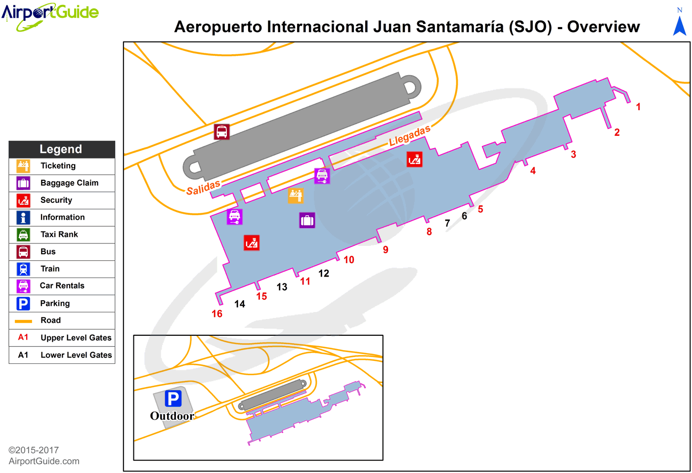 San Jose Juan Santamaria International SJO Airport Terminal Map