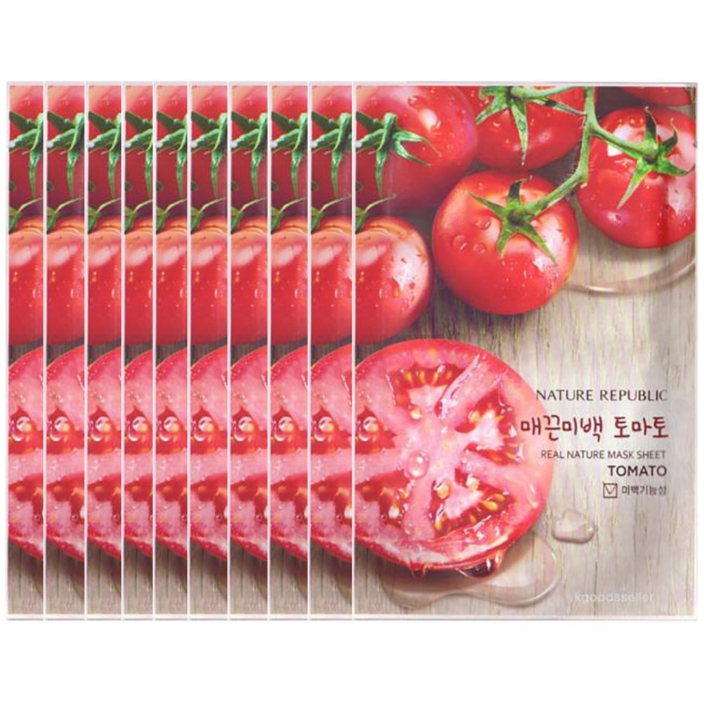 Nature Republic Tomato Moisturize Whiten Facial Sheet 23ml 10pcs Masker Korea Cosmetic Naturerepublic