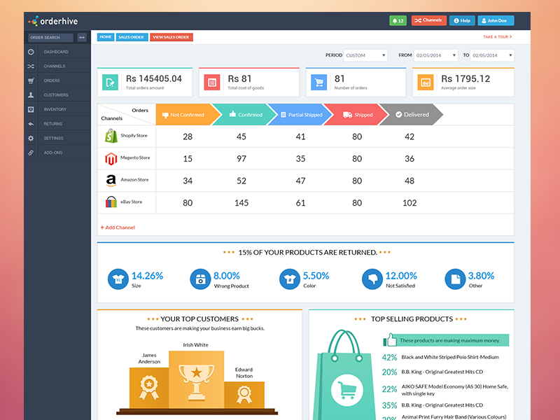 Dashboard Orderhive Web App Ui Dashboard Design