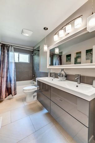 contemporary master bathroom with double sink elk lighting