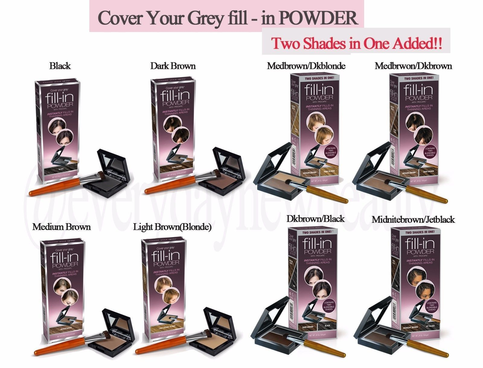 504b39aa070 Cover Your Grey Fill-In Hair Powder With Procapil - 2 Shades In 1 Added!!
