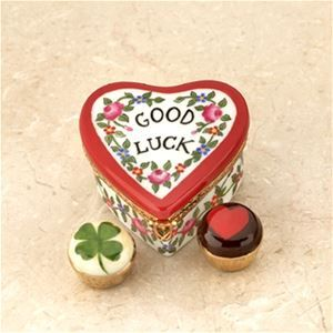Limoges Good Luck Heart with 2 Truffles Box The Cottage Shop