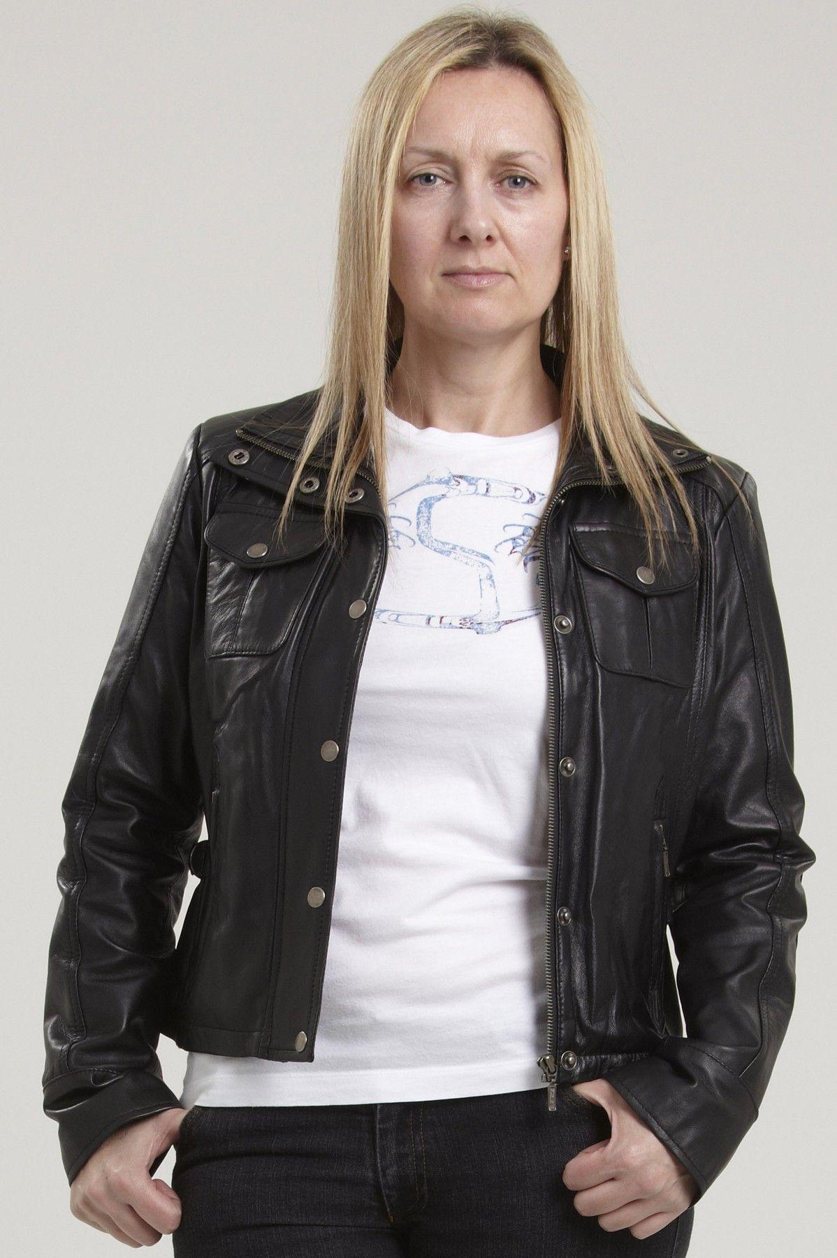 The SENA womens black leather biker jacket in real