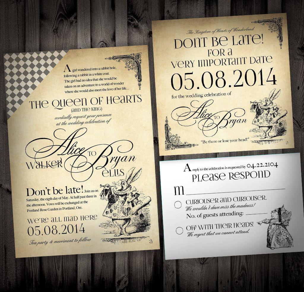 Alice in Wonderland Themed Wedding Invitations by NimbiDesign ...