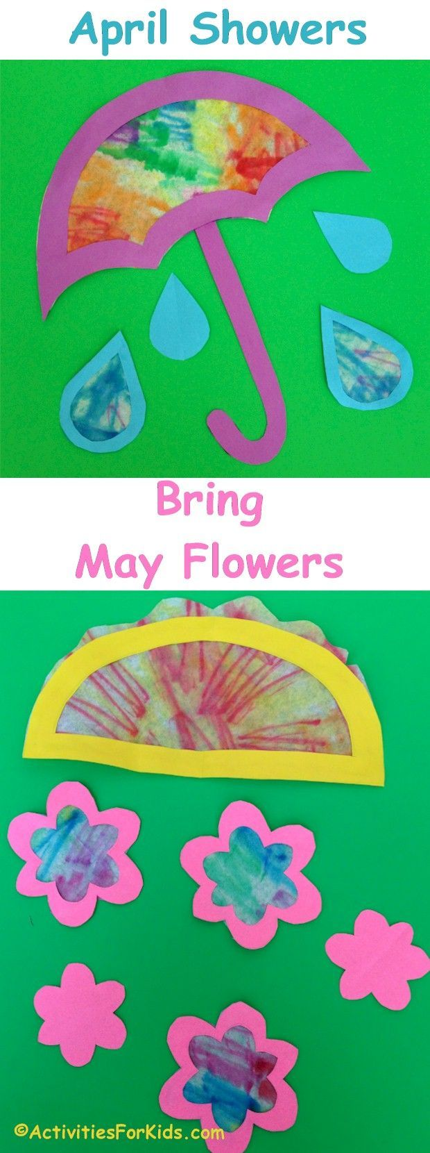 April Showers Bring May Flowers Spring Crafts For Kids Toddler