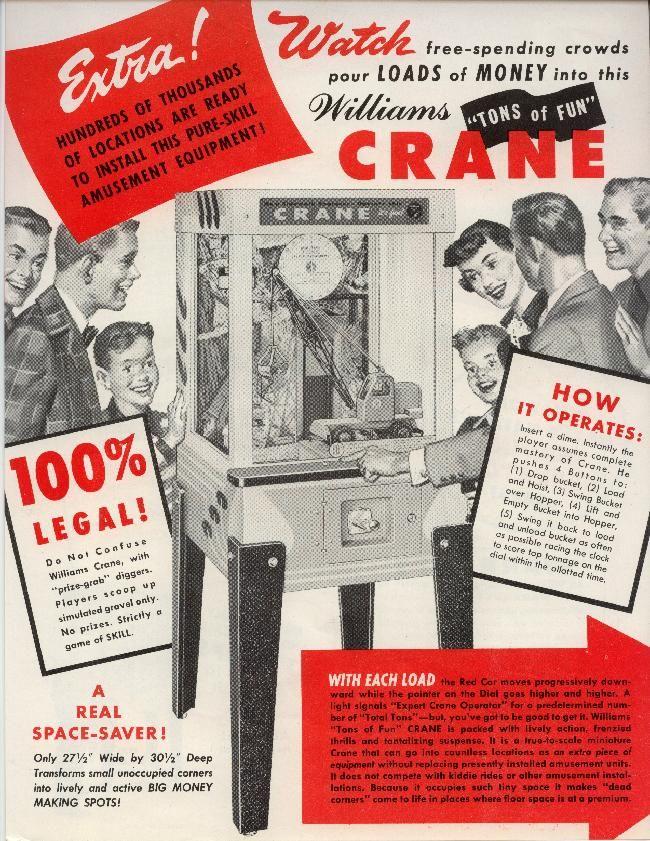 1956 Williams Crane Coin Operated Digger Crane Arcade Game Crane Game Crane Arcade