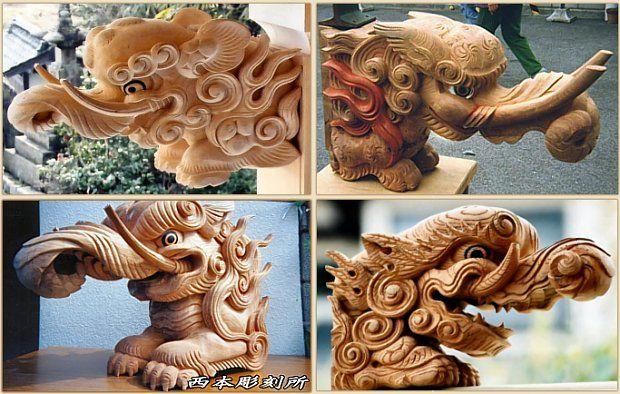 Modern Carvings Of The Baku From The Kazushi Nishimoto Workshop In Matsuyama City Ehime Dream Eater Baku Mythological Creatures