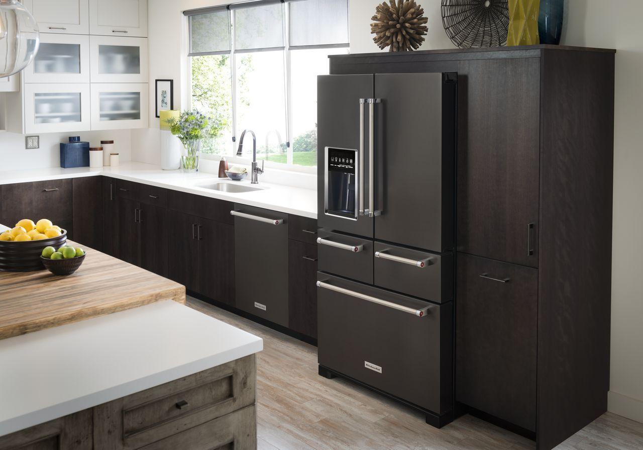 Zwarte koelkast nieuw in 2017 van KitchenAid de Black