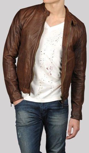 Men leather jacket 457ce5a9de692