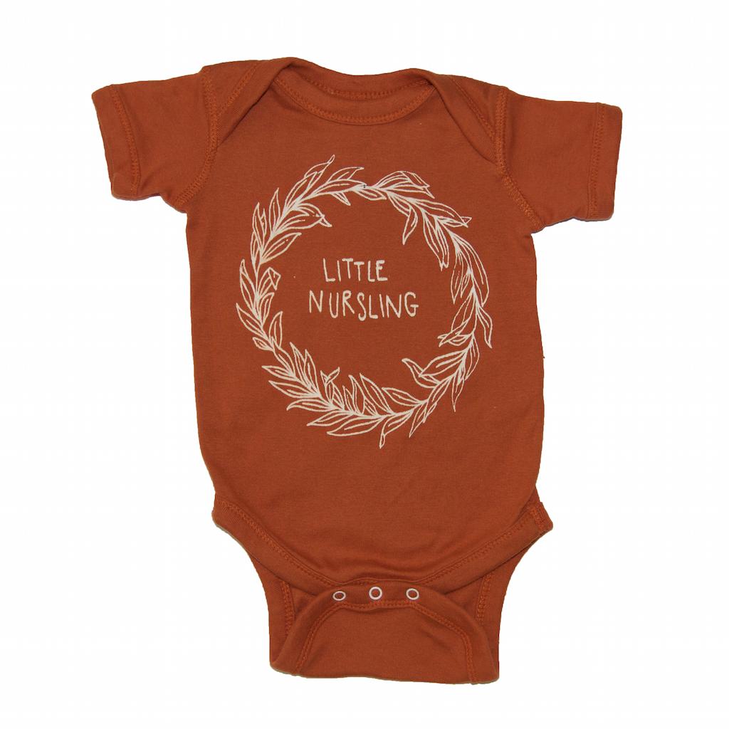 f44053723 little nursling, breastfeeding onesie, onzie, bodysuit, jumper, newborn,  baby boy, baby girl, burnt orange, trendy modern hipster kids baby fashion  clothes