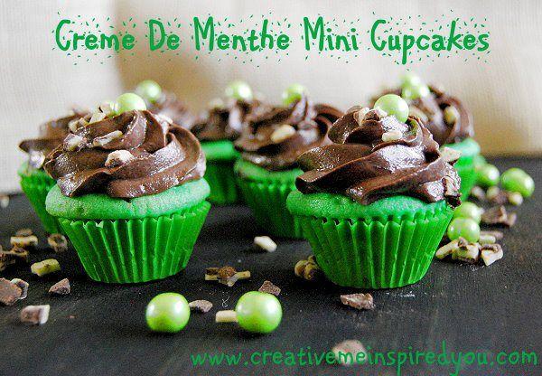Creme de Menthe Mini Cupcakes - CreativeMeInspiredYou.com