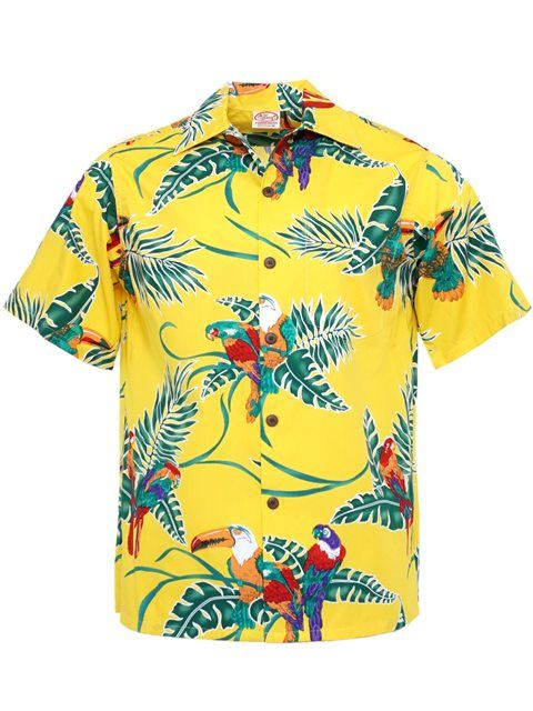 112b2a84 Vintage Tropical Birds Yellow Cotton Men's Hawaiian Shirt in 2019 ...