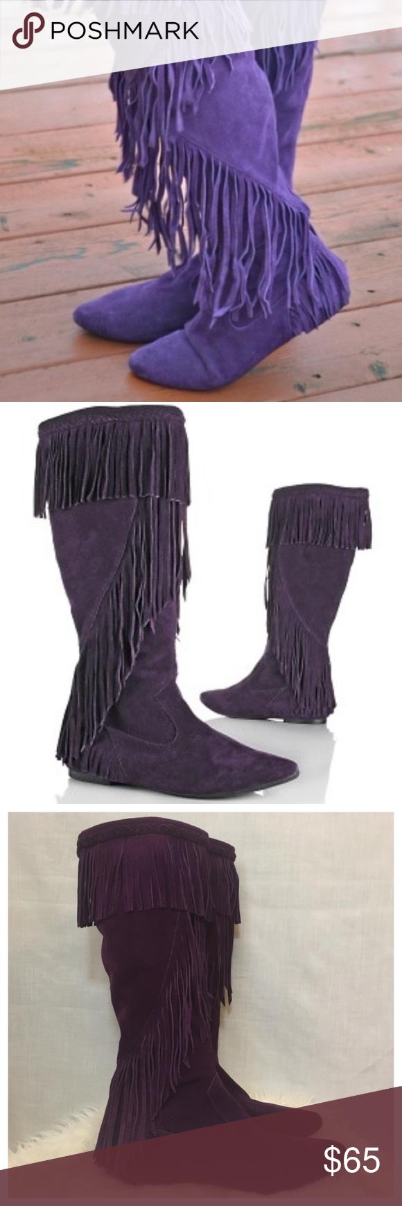 be508c1e2afd15 Sam Edelman Purple Utah Fringe Suede Boots Sz 9 Sam Edelman Purple Utah  Fringe Boho Leather Suede Boots Ladies • Sz 9 •  225 retail • Long fringe  encircles ...