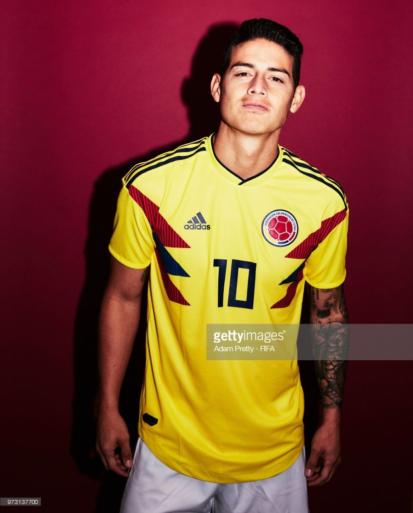James Rodriguez of Colombia poses for a portrait during the official FIFA World Cup 2018 portrait session at Kazan Ski Resort on June 13, 2018 in Kazan, Russia.