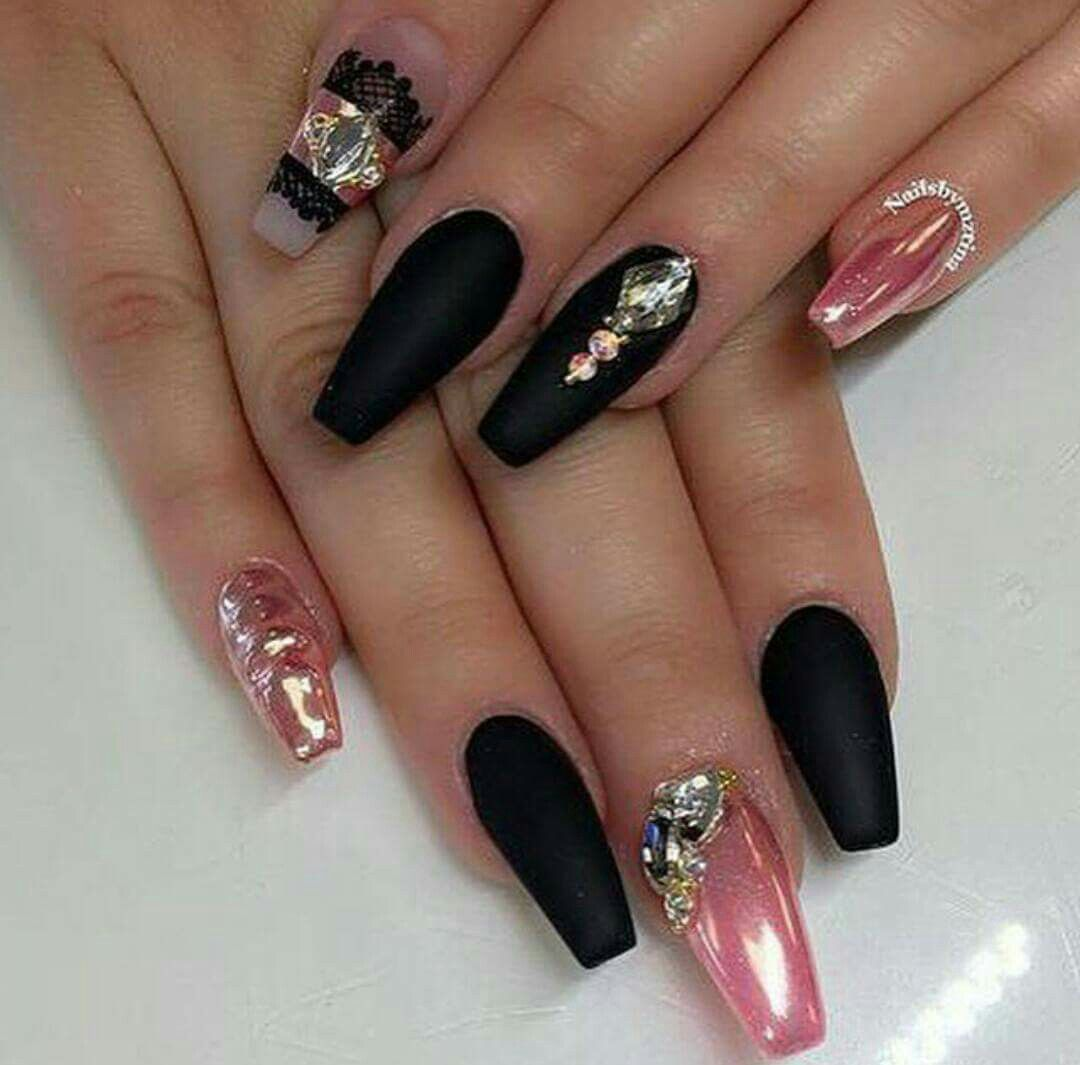 Black & Pink Nail Art | BEAUTY // NAILS #### 7 | Pinterest | Nail ...