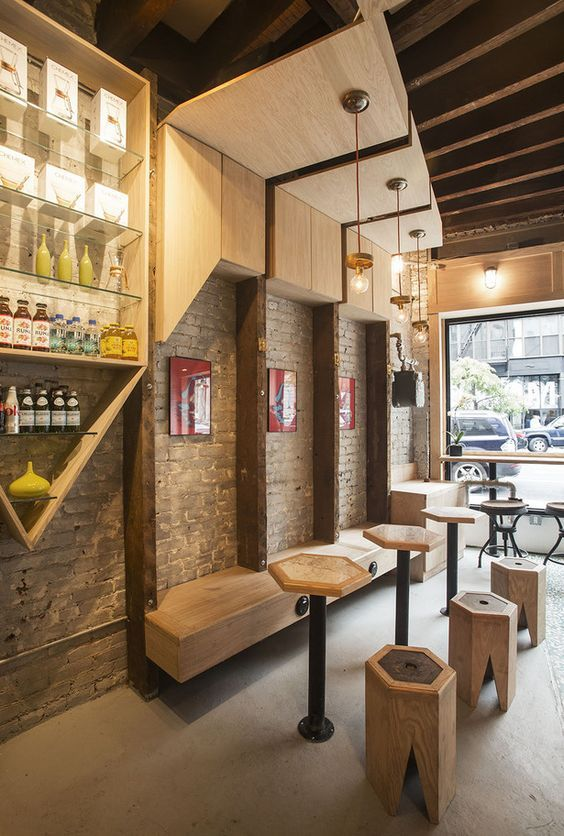 Cafe seating and lighting pinteres for Small cafe bar design