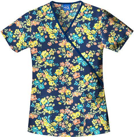 Floral Tropical Blend Scrub Top