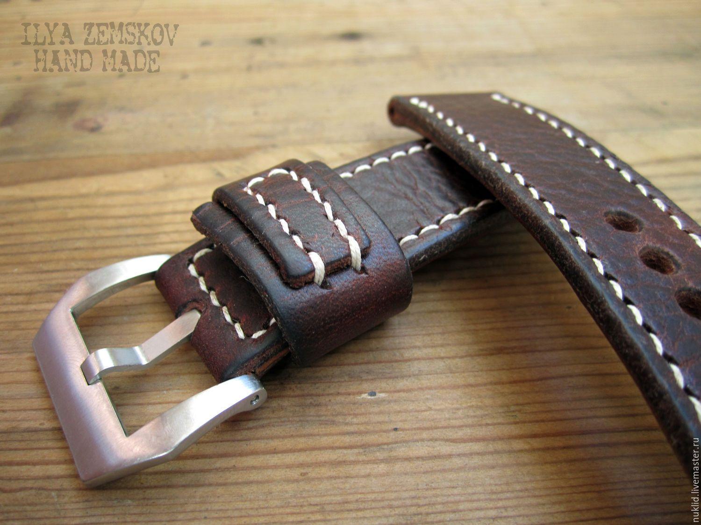 e7582722 Купить Ремешок для часов Panerai - бордовый, кожа натуральная, кожа,  натуральная кожа, кожаный ремешок