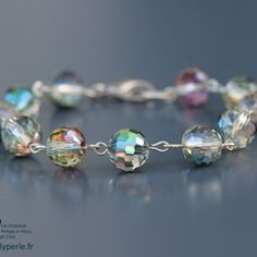 Bracelet swarovski eléments perles rondes disco apprêts argentés